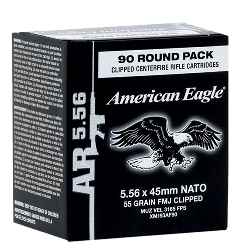 Federal XM855AF90 American Eagle Rifle  Clip 223 Remington/5.56 NATO 62 GR Full Metal Jacket 90 Bx/ 5 Cs