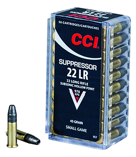 CCI 957 Small Game Suppressor  22 Long Rifle (LR) 45 GR Lead Hollow Point 50 Bx/ 100 Cs