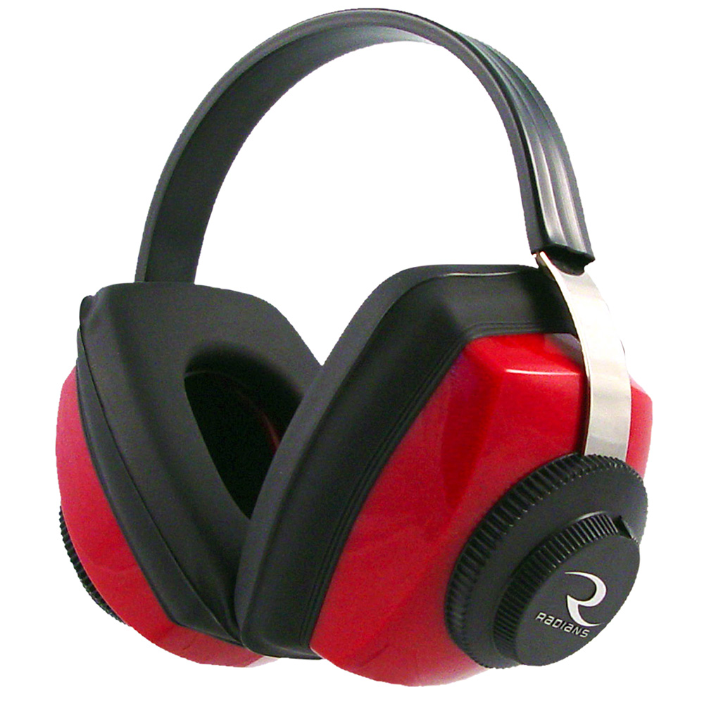 Radians CP0300CS Competitor Muff 26 dB Adjustable Red Ear Cups with Adjustable Black Headband for Adults 1 Pair