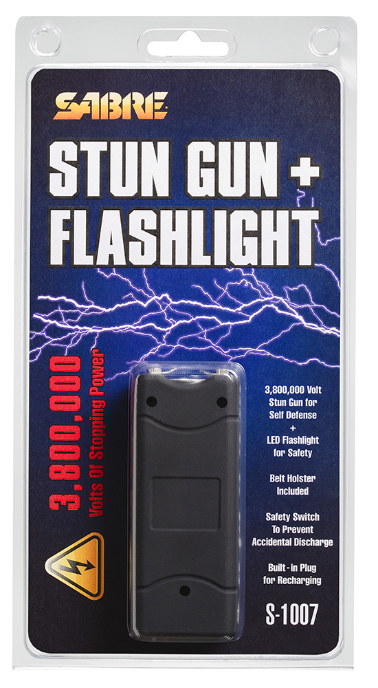 Sabre S1007BK 3.8 Million Volt Stun Gun/Flashlight Portable 2.35 lbs   Black