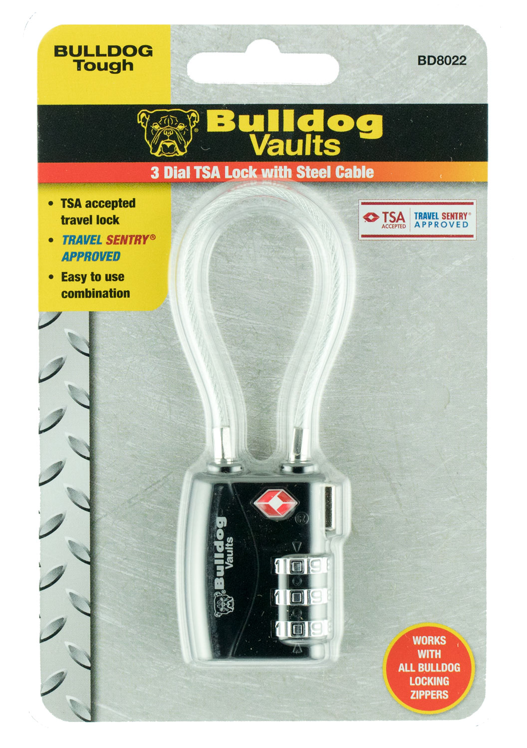 BULLDOG TSA LOCK W/STEEL CABLE