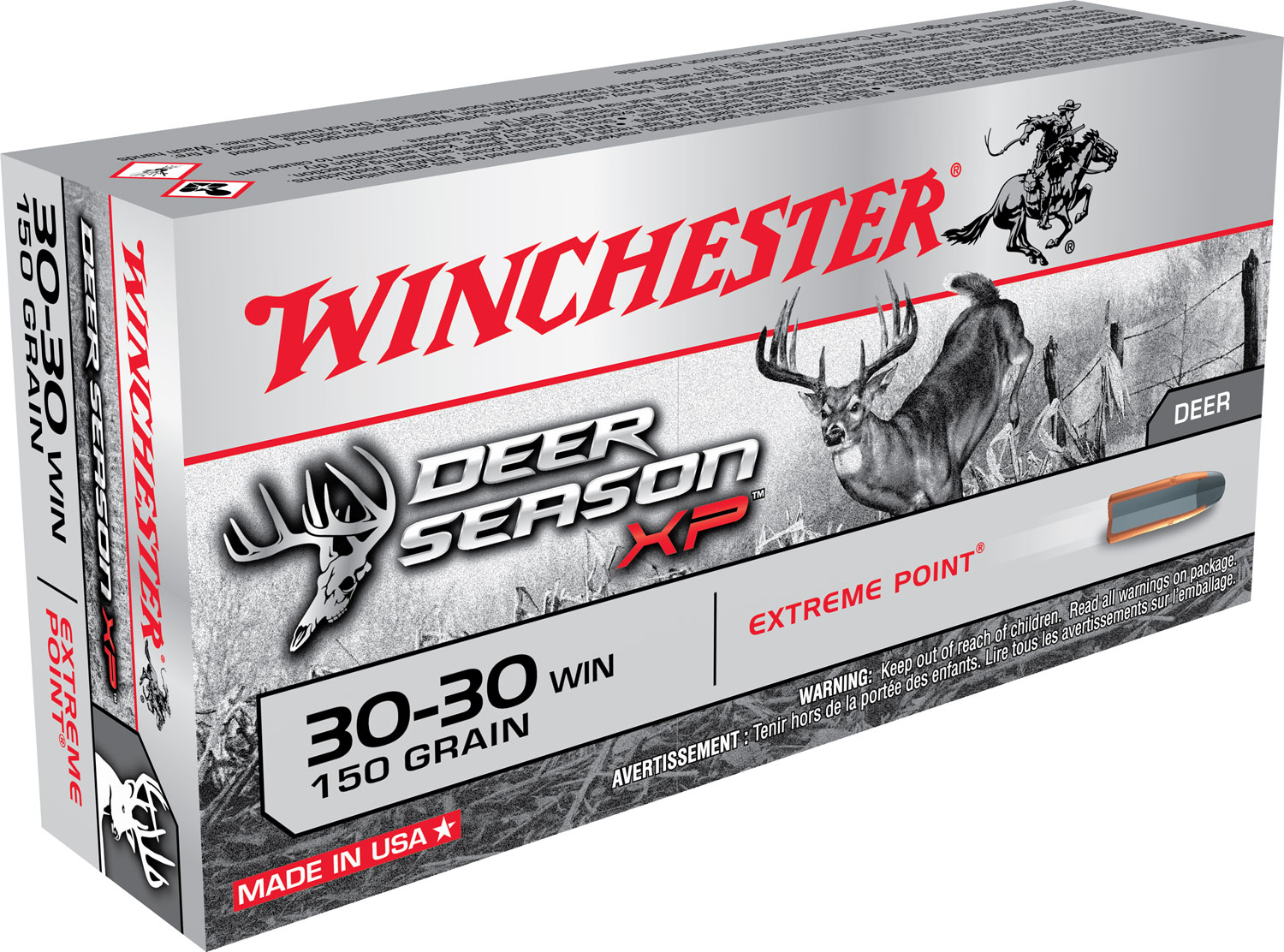 Winchester Ammo X3030DS Deer Season XP 30-30 Winchester 150 GR Extreme Point 20 Bx/ 10 Cs