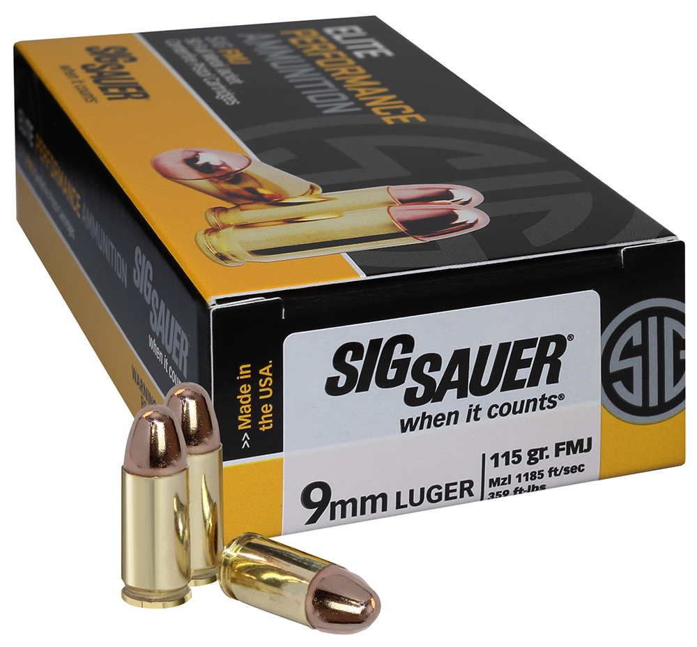 Sig Sauer E9MMB1-50 Full Metal Jacket 9mm Luger 115 GR FMJ 50Box/20Case