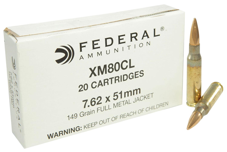 Federal XM80CL XM 308 Winchester/7.62 NATO 149 GR Full Metal Jacket 20 Bx/ 25 Cs