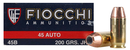 Fiocchi 45B500 Shooting Dynamics 45 Automatic Colt Pistol (ACP) 200 GR Jacketed Hollow Point 50 Bx/ 10 Cs