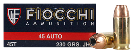 Fiocchi 45T500 Shooting Dynamics 45 Automatic Colt Pistol (ACP) 230 GR Jacketed Hollow Point 50 Bx/ 10 Cs