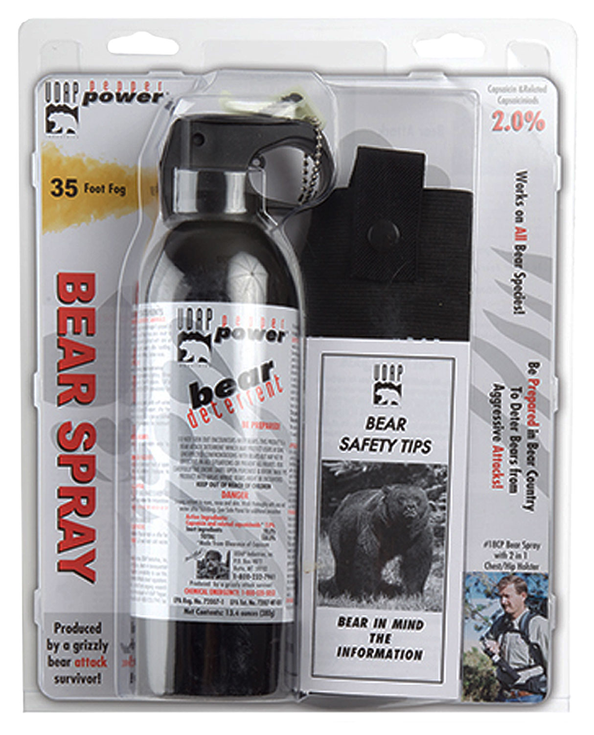 UDAP 18CP Super Magnum Bear Spray w/ Chest Holster 13.4oz/380g Up to 35 Ft Black