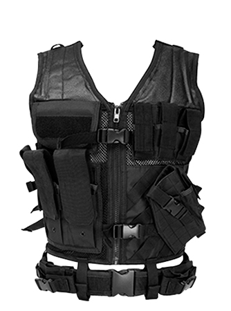 NCStar CTVL2916B Tactical Vest Black XL-XXL Tough PVC/Mesh Webbing