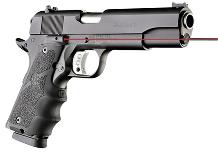 Hogue 45080 Rubber Grip Laser Enhanced with Finger Grooves 1911 Government Black