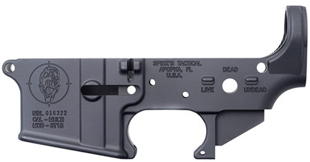 Spikes STLS011 Stripped Lower Zombie AR-15 Multi-Caliber Black Hardcoat Anodized
