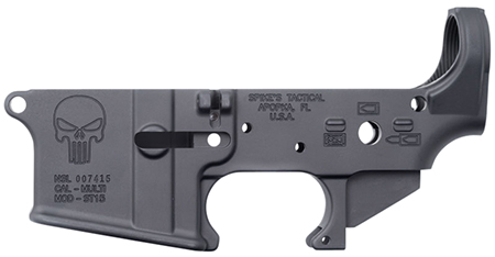 Spikes STLS015 Stripped Lower Punisher AR-15 Multi-Caliber Black Hardcoat Anodized