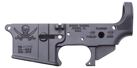 Spikes STLS016 Stripped Lower Pirate AR-15 Multi-Caliber Black Hardcoat Anodized