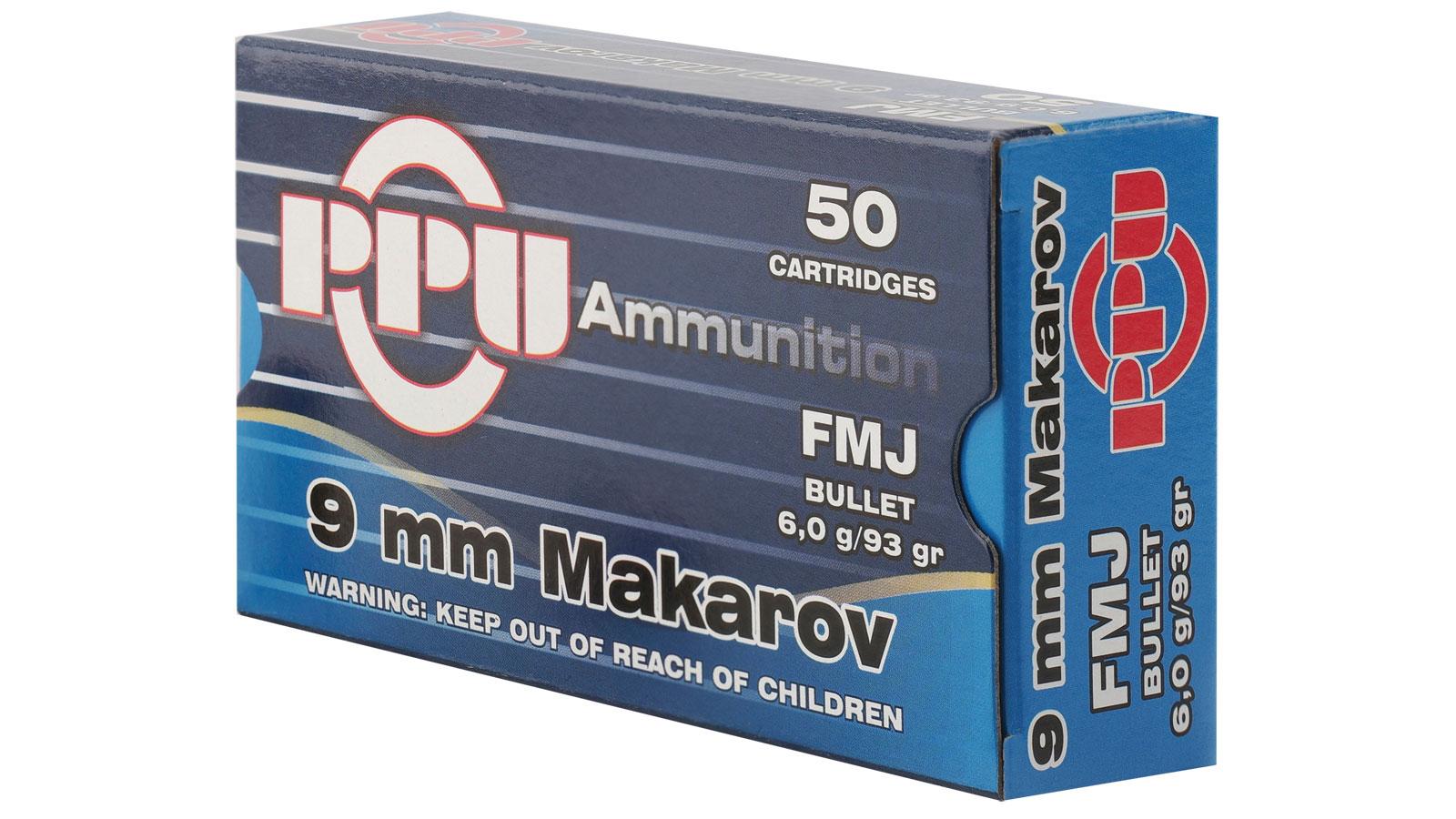 PPU PPR94 Handgun  9x18 Makarov 93 GR Full Metal Jacket 50 Bx/ 10 Cs