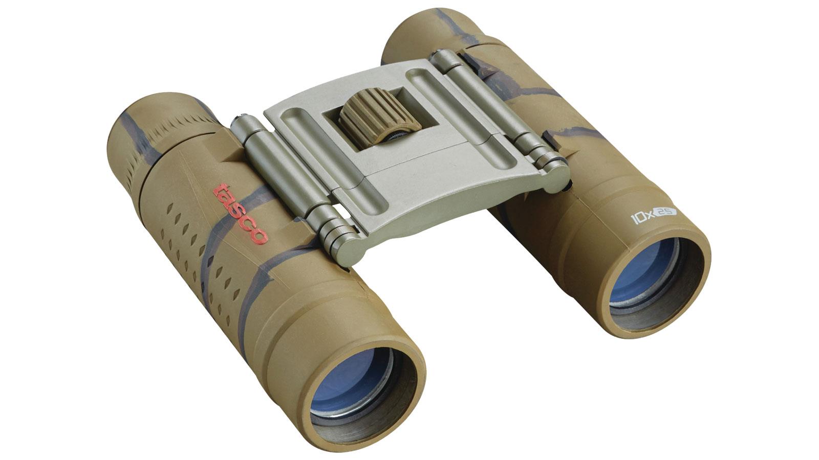 Tasco 168125B Essentials Binoculars 10X25 Brown Camo Roof Mc, Box, 6L