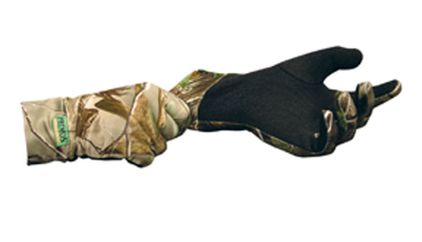 Primos Stretch Fit Gloves  <br>  w/Sure-Grip Realtree AP Green