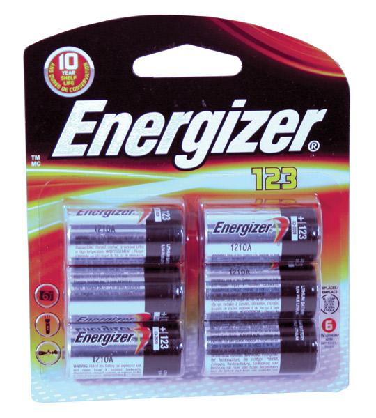 Energizer EL123BP-6 Lithium 123 Photo Batteries 3Volt 6Pk