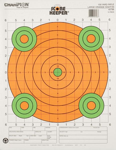 Champion 45796 Scorekeeper 100Yd Sight-In Rifle Target, Large Orange