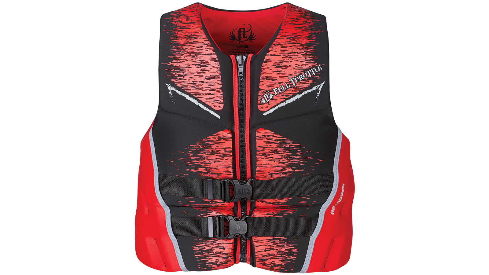 Full Throttle Mens Life Jacket Rapid-Dry Flex-Back-Red-XL
