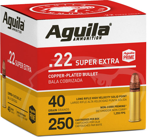 Aguila 1B221100 Standard High Velocity 22 LR 40 gr Copper-Plated Solid Point 250 Bx/ 8 Cs