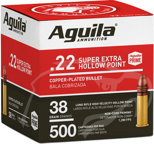 Aguila 1B221118 Standard High Velocity 22 LR 38 gr Copper-Plated Solid Point 500 Bx/4 Cs