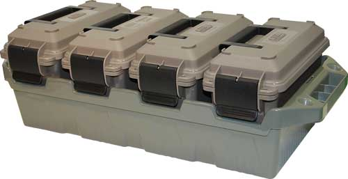 MTM 4-CAN AMMO CRATE W/ 4 .30 CAL AMMO CANS ARMY GRN/DK ERTH