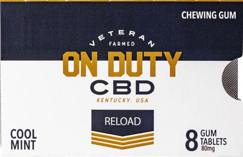 ON DUTY CBD GUM THC FREE 80MG COOL MINT 8PK