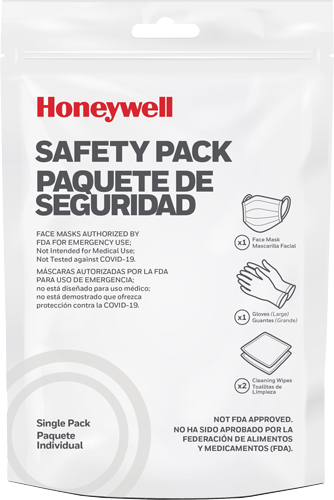 HONEYWELL SAFETY PACK 12-PACK 1-FACE MASK 1-GLOVES 2-WIPES
