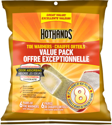 HOTHANDS TOE WARMER VALUE PACK 6 PAIRS PER PACK 8 HOUR W/ADHS